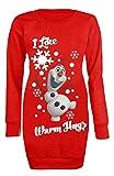 Neue Damen Frozen, Pony, Elsa, Schneemann Xmas Weihnachten lang Sweatshirt Jumper 8–11 Gr. 34-36, Red Olaf Warm Hug