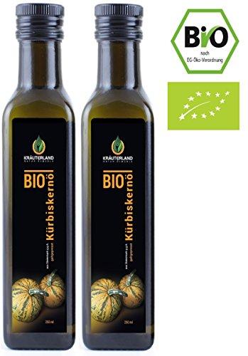 BIO Kürbiskernöl aus der Steiermark • BIO-zertifiziert • ab 9,90 • 500ml • kaltgepresst • 100% naturrein • auch zur Pflege von Haut • Kräuterland (2 x 250ml)