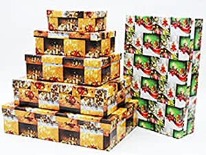 5 pi ces bo te cadeau xxl bo te kit motif papier cadeau no l orange marron. Black Bedroom Furniture Sets. Home Design Ideas