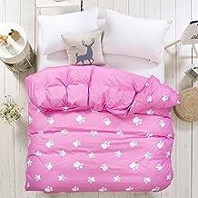 Zhiyuan Funda de edredón con patrón de huella 150x200cm Rosa
