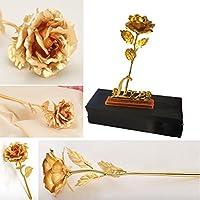 Rosa chapada en oro de 24 K sobre soporte con la palabra «Love», regalo para el día de San Valentín para novia, esposa, madre o ser querido