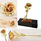 """Fiore di rosa placcato oro 24K su supporto con scritta """"Love"""", regalo di San Valentino per la..."""
