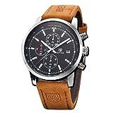 Montre chronographe Homme imperméable à l'eau d'affaires analogiques Quartz Cadran Noir Montre Bracelet pour Hommes Cuir Bande Marron