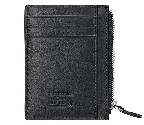 Flintronic portia carte di credito e tasche pelle, rfid/nfc blocco portafoglo, (1 scomparto con cerniera, 6 slot per schede e 1 porta id/foto) borsa tascabile sottile per uomo e donna - nero