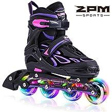 2pm Sports Vinal Violeta Patines en línea tamaño ajustable, con luces que se encienden en las ruedas para adolescentes, diseño colorido y moderno - Violeta M(35-38)