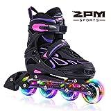 2pm Sports Vinal Violett Größe Einstellbar Inline Skates für Mädchen und Damen, LED-Räder leuchten nachts auf - Violett M(35-38)