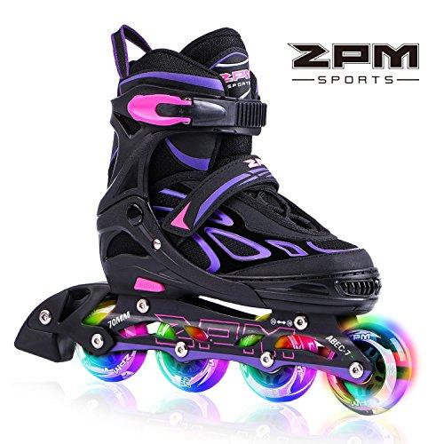 2pm Sports Vinal Violett Größe verstellbar Inline Skates für Mädchen und Damen, LED-Räder leuchten nachts auf - Violett L(38-41)