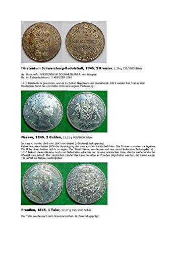 Kalenderblatt zum Jahr 1846: Das Jahr 1846 belegt durch drei Münzen (Drei Kreuzer von Schwarzburg-Rudolstadt, zwei Gulden von Nassau und ein Taler Preußens des Jahres 1846)