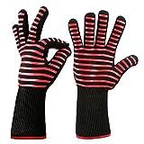 Cradifisho Grill Handschuhe Wärmedämmung, Handschuhe für Küche Backen, elastisch/atmungsaktiv/Schnell Waschbar Ofen Wärme-Isolierung von Feuer Mehrzweck Handschuhe Isolierung 1Paar rot