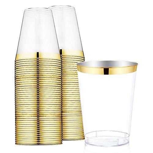 9oz Gold Kunststoff-Einweg Klar Plastik CUPS MIT GOLD rim-hard Party/Hochzeit Kunststoff Tumbler 60pack-wdf Gold Trim (Cups Gold Kunststoff)