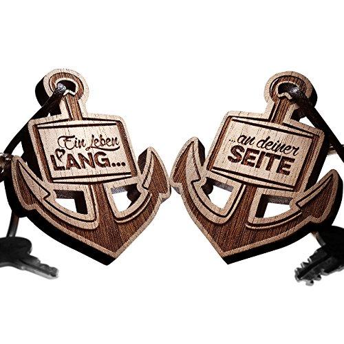 *2er Set Schlüsselanhänger Anker – vorgraviert mit: Ein Leben lang…*