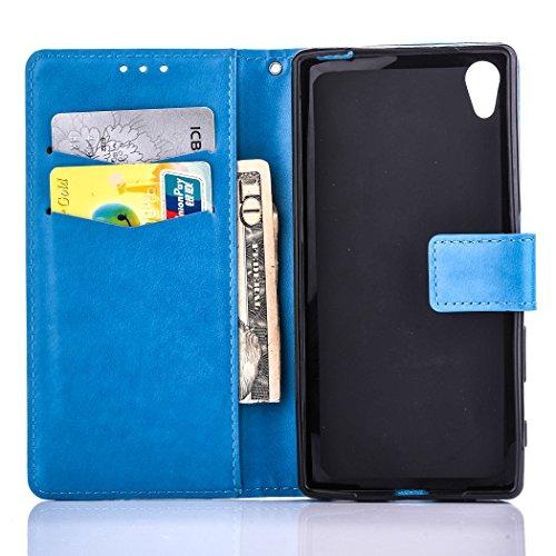 Hülle für Sony Xperia X, Tasche für Sony Xperia X, Case Cover für Sony Xperia X, ISAKEN Farbig Blank Muster Folio PU Leder Flip Cover Brieftasche Geldbörse Wallet Case Ledertasche Handyhülle Tasche Ca Blank Einfarbig Blau