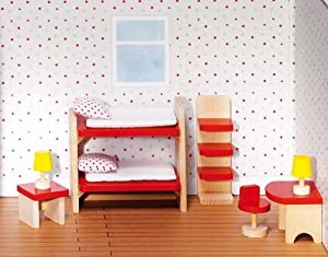 Goki 51719 Accesorio para casa de muñecas Dollhouse Bedroom - Accesorios para Casas de muñecas (Dollhouse Bedroom, Play Dollhouse, Madera,, 3 año(s), 320 g)