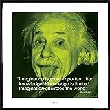 1art1 Albert Einstein Poster Kunstdruck und Kunststoff-Rahmen - Zitat, Fantasie Ist Wichtiger Als Wissen, Denn Wissen Ist Begrenzt. Fantasie Aber Umfasst Die Ganze Welt (40 x 40cm)