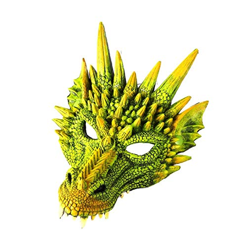 FUdeza Mardi Gras PU 3D Chinesisch Drachen Maske Cosplay Kostüm Weihnachten Halloween Karneval Party - Grün Drachen Maske (Grüne Drachen Kostüm)