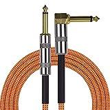 Festnight Gitarrenkabel, Gerade zum Rechten Winkel Musikinstrument Audiokabel Kabeljacke für E Gitarre Bassmixer Verstärker Equalizer (3 Meter, Orange)