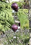 Gartenstecker Wave beere/silber m. 4 Kugeln/1 Stahlstreifen glänzend Höhe 160 cm, Gartendeko, Garten, Geschenk