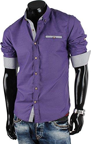 TAZZIO chemise à manches longues pour homme taille 5XL Violet - Lilas