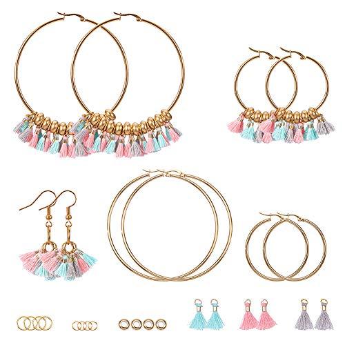 SUNNYCLUE böhmischen Fan Quaste Ohrringe für Frauen mehrfarbige Fransen Gewinde vergoldet Perlen Creolen baumeln Tropfen Aussage Ohrringe Machen Kit - 3 Paar Ohrringe Machen