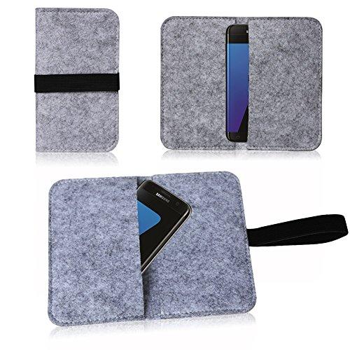 Apple iPhone SE 5 5S 5C Tasche Filz Hülle Cover Case Handy Flip Filztasche NAUC, Farben:Dunkel Grau Hell Grau
