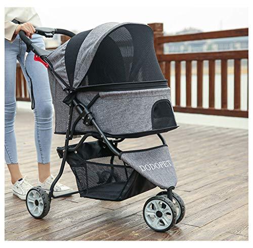 Pet stroller Kinderwagen mit Griffumkehrfunktion, Buggy für Hunde mit Eva-Stahlrädern, maximales Gewicht 15 kg (Color : Gray)