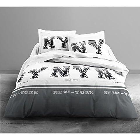 Today 016054 ONLY Parure de lit pour 2 Personnes Dessin NY Polyester Blanc/Gris 240 x 220 cm
