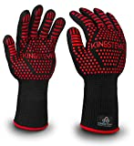 KINGSTEYN Grillhandschuhe hitzebeständig bis 500°C (1 Paar) - 35cm Extra Lange Ofenhandschuhe - Backhandschuhe mit Gecko-Effekt (Männerhandgröße, Rot)