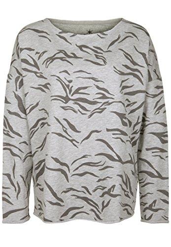 Juvia Damen Sweatshirt Devore Zebra Sweater Fleece-Futter Light Grey Melange L -