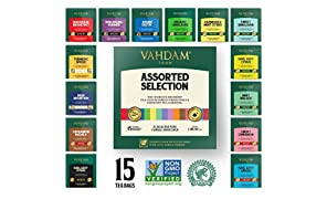 VAHDAM, Tea Variety Pack | 15 Flavours | Award Winning Tea Sampler | Black Tea, Green Tea, Oolong Tea, Chai Tea, Herbal Tea | Long Leaf Pyramid Tea Bags | Best Selling Tea Gift Set & Tea Gift Box