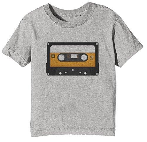 Cassette De Audio Niños Unisexo Niño Niña Camiseta Cuello Redondo Gris Manga Corta Tamaño XL Kids Unisex Boys Girls T-Shirt Grey X-Large Size XL