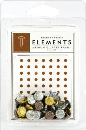 American Crafts Elements Medium Glitter-Brads, Metallic - American Crafts Elements Brads