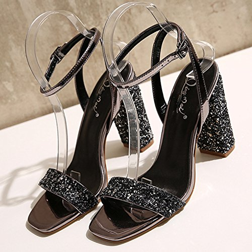 Oasap Women's Open Toe Sequins Ankle Strap Chunky Heels Sandals Deep Grey