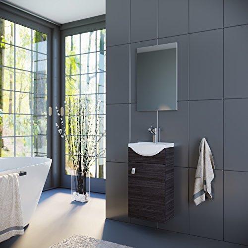 Waschtisch + Spiegel Badmöbel Set für Gäste Bad WC (Anthrazit)