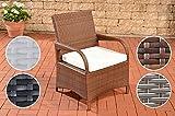 CLP Poly-Rattan Garten-Stuhl PIZZO mit Sitzkissen, Aluminiumgestell, bis zu 4 Rattan-Farben wählbar braun-meliert