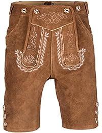 Herren Trachten Lederhose Kurz mit Trägern in verschiedenen Farben, Trachtenlederhose in Größe 46 bis 60