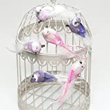 Dekovögel mit Clip (6 Stück), rosa und flieder - Tisch- und Raumdekoration Klammer Federn