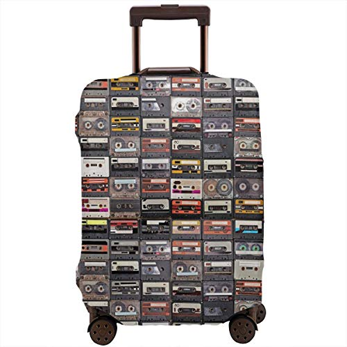 Travel Suitcase Protector,Huge Collection of Audio Cassettes Retro Musical Background,Suitcase Cover Washable Luggage Cover M Elastic Audio