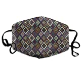 Gxdchfj LonelyKilim Diamonds Renaissance Blue and Green Washable Reusable Masks Respirator Comfy Protective Breath Healthy Safety Warm Windpro of Mask