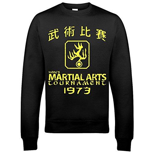 9115 Han's Tournament Uomo Sweatshirt Enter The Dragon Kung Fu Bruce Lee Hans Nero