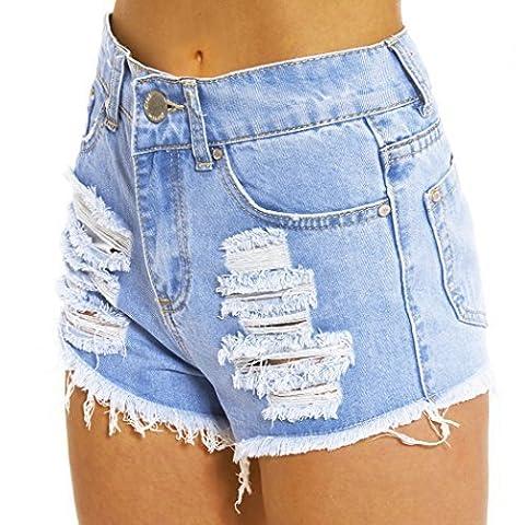 SS7 Nouvelles Femmes Taille Haute Déchiré Short, Tailles 34 pour 16 - Jean Bleu, 38