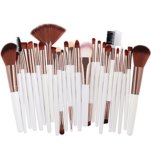25 pcs Make-up Pinsel Set Beauty Foundation Power Blush Eye Shadow Braue Lash Ventilator Lippe Gesicht Machen Kabuki Werkzeug Brush Kit white Sliver