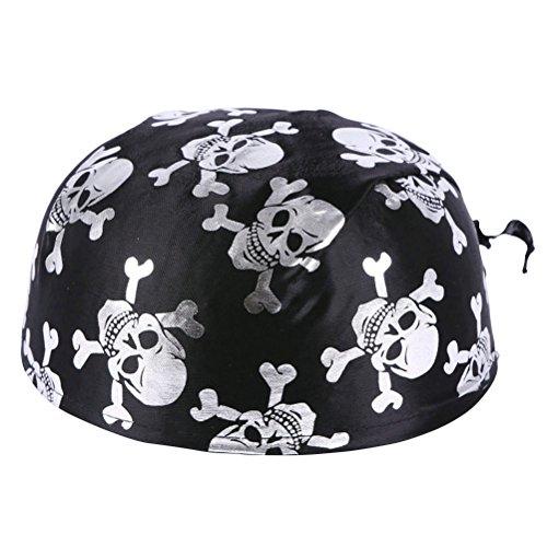 Amosfun Spaß Piratenkostüm Kolonial Hüte Skelett Muster Piraten Zubehör für Halloween Oder Jede Partei Halloween Kostüme (Silber) (Kolonial Kostüm Zubehör)