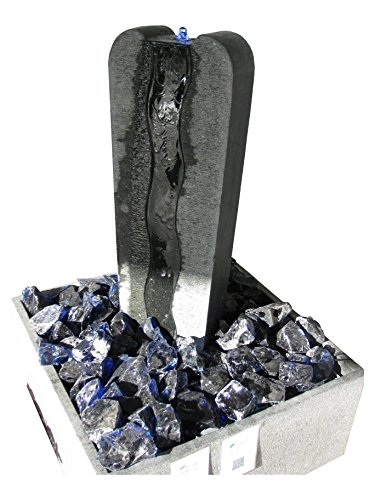 """floristikvergleich.de Brunnen Set """"hohe Säule"""" schwarz aus Granit mit kompletten Zubehör"""
