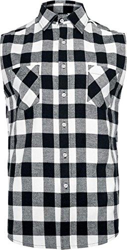 Urban Classics Herren Sleeveless Checked Flanell Hemd Blk/Wht