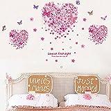 Adesivo da parete rimovibile, motivo: cuori, farfalle e fiori, adatto per tutte le stanze della casa