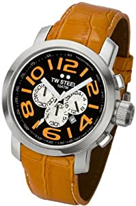 TW Steel - TW 53 - Montre Homme - Bracelet Cuir Orange