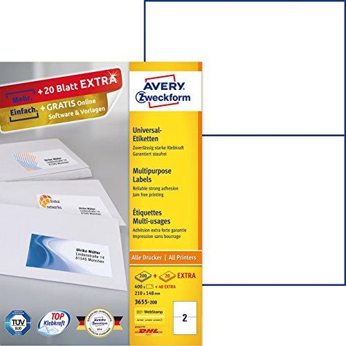 AVERY Zweckform 3655-200 Etiketten (A4, 400 Plus 40 Universal-Etiketten extra, 210 x 148 mm, 220 Blatt) weiß