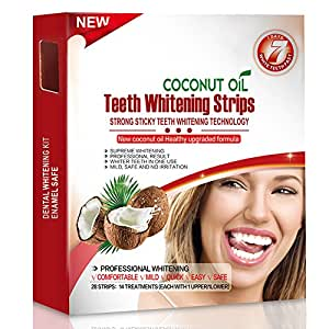 Grinigh 28 Sbiancamento Dei Denti Strisce con olio di cocco Qualità Professionale Nessuna Tecnologia Antiscivolo Kit per sbiancamento Dentale -White strips - Teeth Whitening Strips