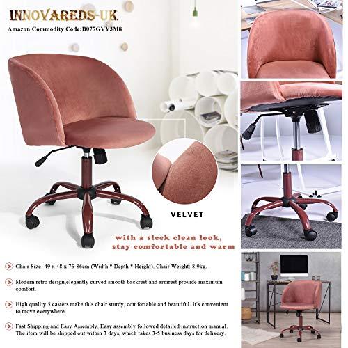 Innovareds höhenverstellbarer Bürostuhl aus Samt, Drehstuhl, Schreibtischstuhl, Esszimmerstuhl, mit Rücken- und Armlehne, roséfarben