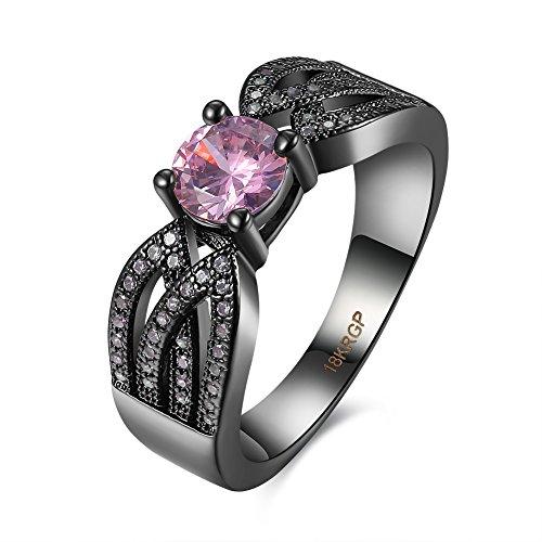 Thumby Copper Black Gun Plated 4.9g Romantic Hollow Pattern And Diamond Ring for (Black Kostüm Dahlia Design)